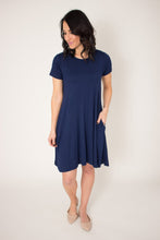 Load image into Gallery viewer, Navy Blue Pocket Swing Dress (L & XL)