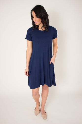 Navy Blue Pocket Swing Dress (L & XL)