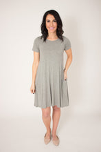 Load image into Gallery viewer, Gray Pocket Swing Dress