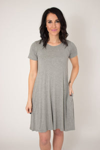 Gray Pocket Swing Dress