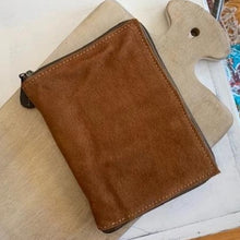 Load image into Gallery viewer, Suede Zip Around Leather Journal with Pen & Card Holder - Brown, Blank Pages