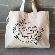 "Load image into Gallery viewer, ""Do Small Things with Great Love"" Cotton Canvas Reusable Shopping Tote Bag"
