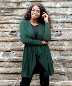 Javits Ribbed Cardigan in Hunter Green