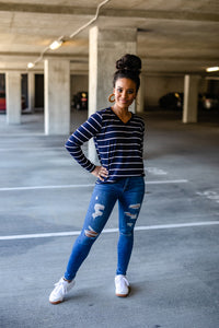 Regal Navy Blue Stripe Long Sleeve V-Neck T-shirt