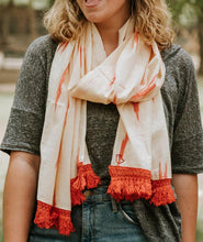 Load image into Gallery viewer, Peela Coral Tassel Scarf
