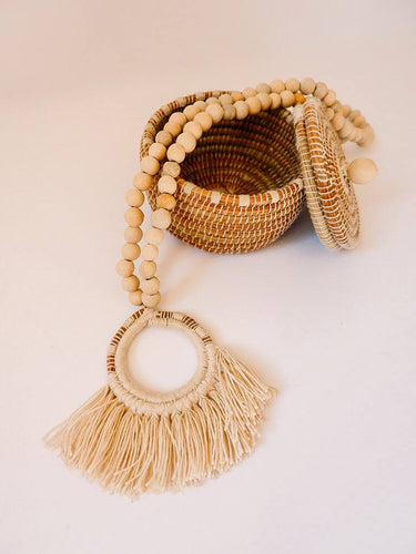 On the Fringe - Pine Needle & Clay Bead Necklace