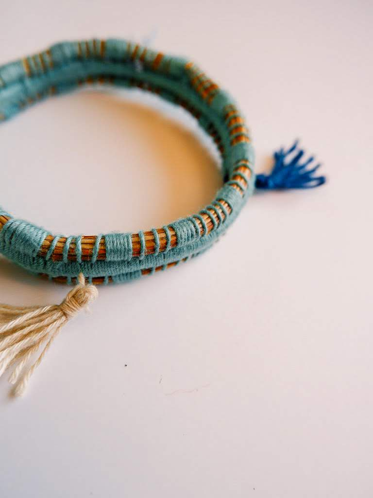 Pine Needle & Thread Bangle Bracelet - Various Colors