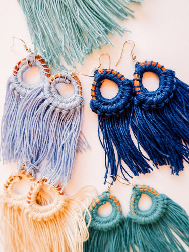 Pine Needle & Thread Fringe Earrings