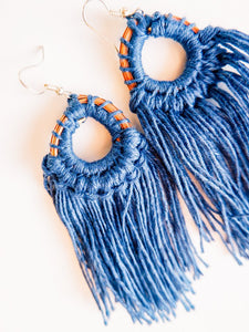 Pine Needle & Thread Fringe Earrings - Various Colors