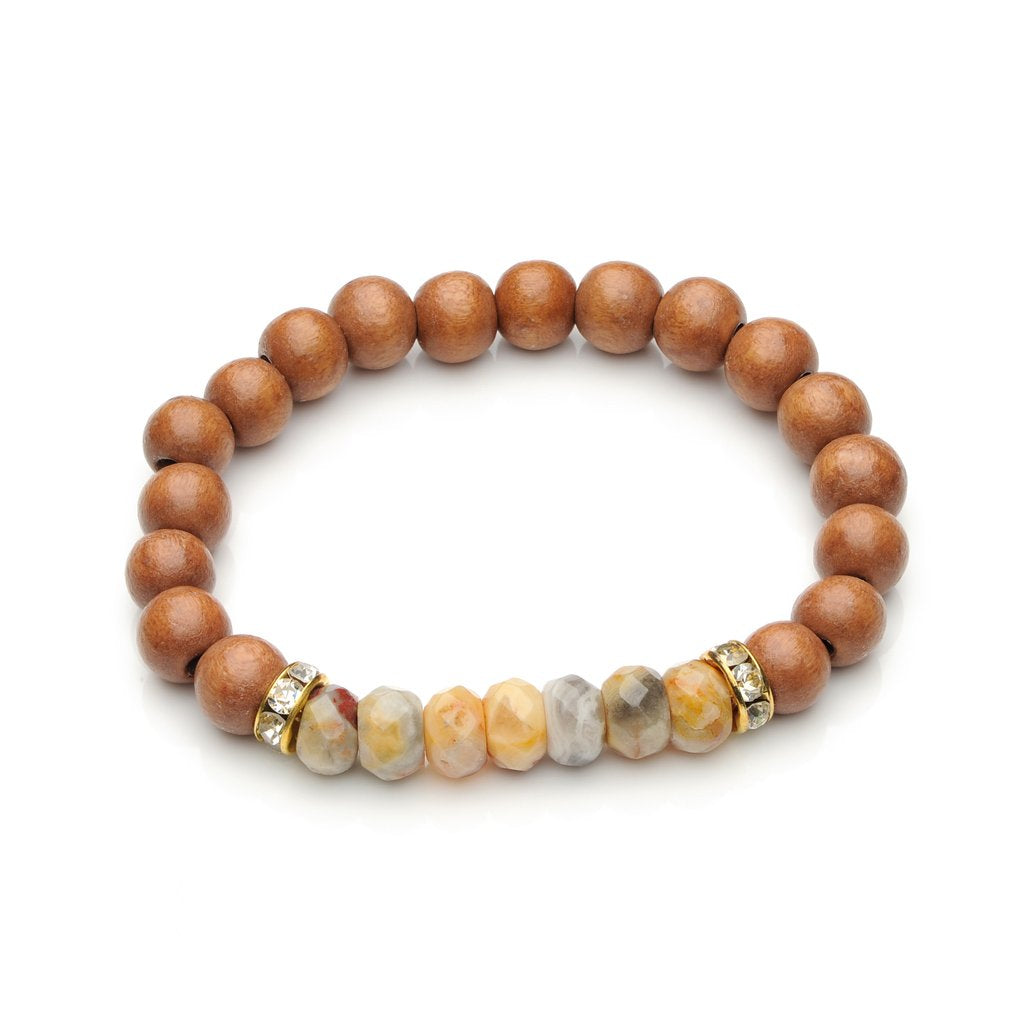 Leah Agate Wood Bead Bracelet - Various Colors
