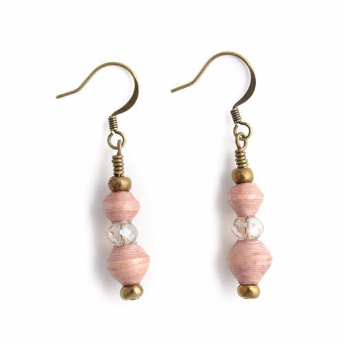 Margie Paper Bead Earrings in Blush