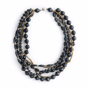 Mukaga Paper Bead Statement Collar Necklace