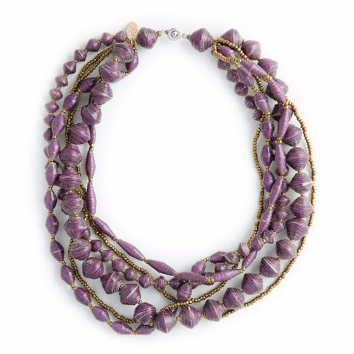 Mukaga Paper Bead Statement Collar Necklace - Various Colors