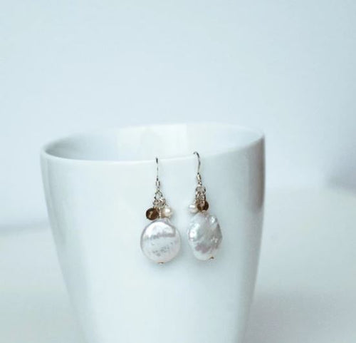 White Coin Pearl Dangle Earrings
