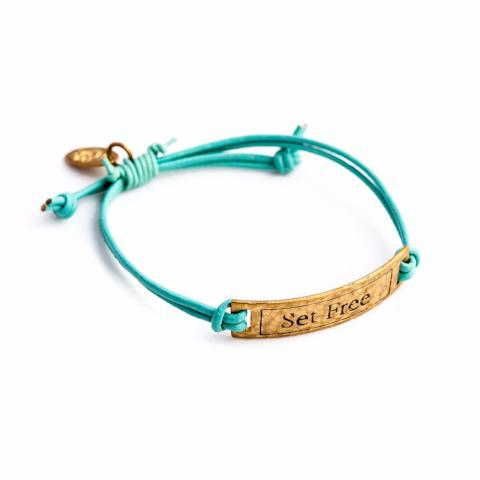 Set Free Bronze & Leather Bracelet