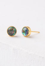 Load image into Gallery viewer, Lora Gold & Blue Opal Circle Stud Earrings