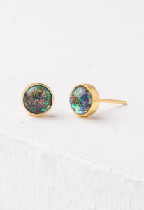 Lora Gold & Blue Opal Circle Stud Earrings