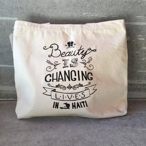 """Beauty is Changing Lives in Haiti"" Cotton Canvas Reusable Shopping Tote Bag"