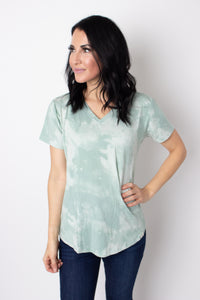 Sea Tie Dye V-Neck T-Shirt Top