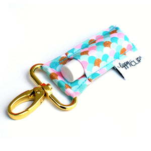 LippyClip® The Original Lip Balm Holder -  Aqua, Pink, & Gold Mermaid Scales