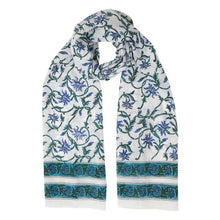 Load image into Gallery viewer, Vintage Style Blue Floral Scarf