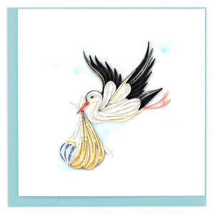 Special Delivery Stork Baby Quilling Greeting Card || Celebration, New Baby