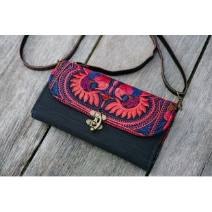 The Pitta Embroidered Black Crossbody Purse - Red & Purple