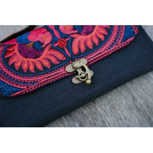 Load image into Gallery viewer, The Pitta Embroidered Black Crossbody Purse - Red & Purple