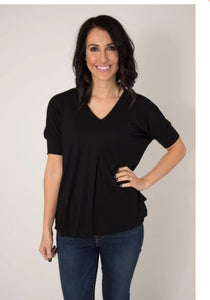 Black Dolman Sleeve Slub Top