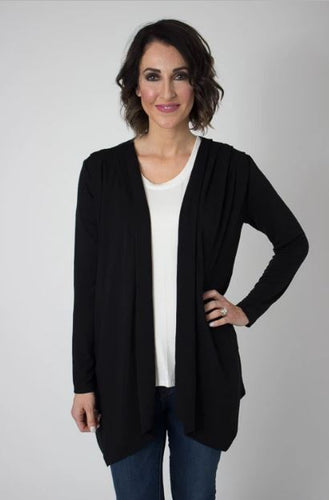 Black Waterfall Cardigan Top