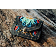 Load image into Gallery viewer, The Marigold Embroidered Black Mini Coin Purse