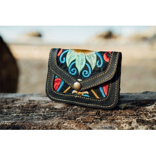The Marigold Embroidered Black Mini Coin Purse