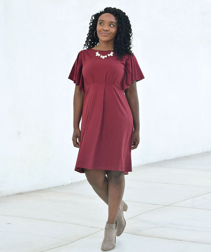 Daisy Dress with Flutter Sleeves in Burgundy