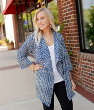 Load image into Gallery viewer, Blue Batik Cotton Open Cardigan