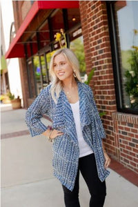 Blue Batik Cotton Open Cardigan