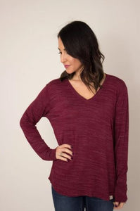 Black Cherry Long Sleeve V-Neck Top