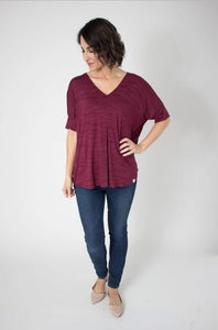 Black Cherry Dolman Sleeve Slub Top