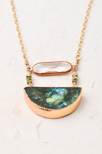 Chloe Crystal & Labradorite Pendant Necklace