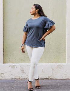 The Kara Flutter Sleeve Relaxed Top in Gray