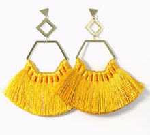 Load image into Gallery viewer, Ava Sunshine Yellow Tassel Earrings
