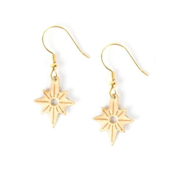 Gold North Star Dangle Earrings