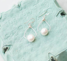 Load image into Gallery viewer, White Egg Shaped Pearl Dangle Earrings