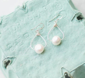 White Egg Shaped Pearl Dangle Earrings