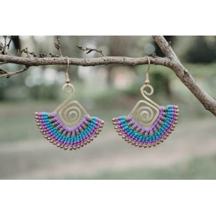 Siamese Tulip Brass Fringe Earrings - Various Colors