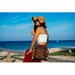 The Minivet Bird Embroidered Crossbody Purse in Brown