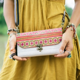 The Jasmine Embroidered White Crossbody Purse