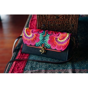 The Hibiscus Embroidered Black Crossbody Purse