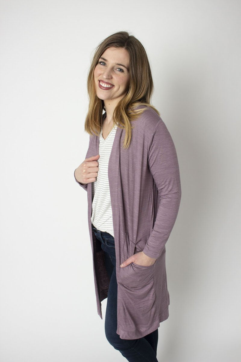 Wisteria Purple Open Knit Cardigan