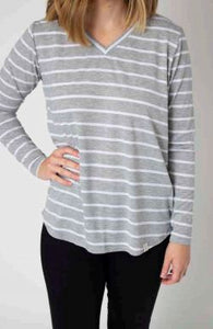 Gray Striped Long Sleeve V-Neck Top