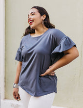 Load image into Gallery viewer, The Kara Flutter Sleeve Relaxed Top in Gray